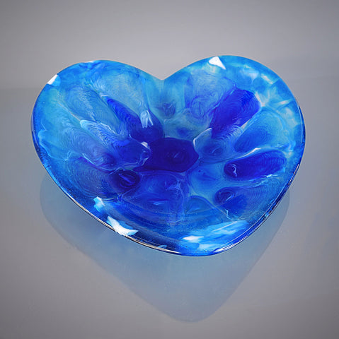Abstract Melted Glass Blue Heart Sculptured Bowl