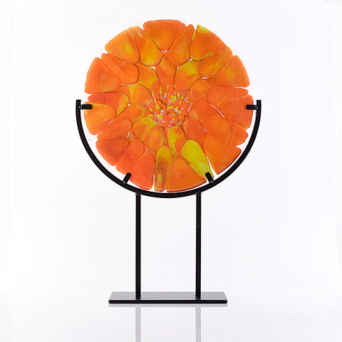 Abstract Contemporary Glass Art Orange Dahlia Flower Panel with Stand | The Glass Rainbow