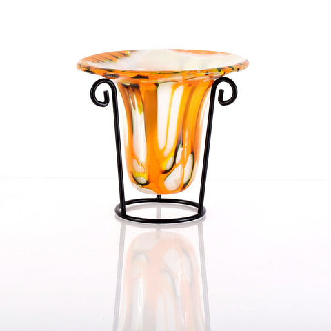 Blown Glass Inspired Glass Vase with Stand in Orange & White