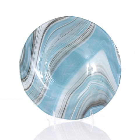 Abstract Fused Glass Art Fruit Bowl in Blue Gray & White by Brenda Buschle
