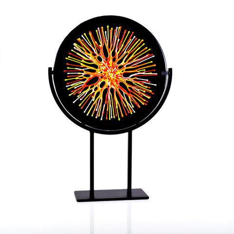 Neon Glass Art Panel with Stand | Black with Abstract Rainbow Glass Melt