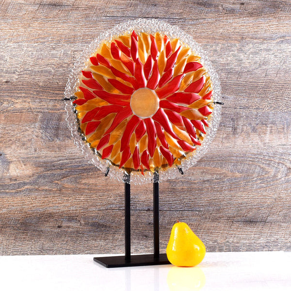 Fused Glass Art Flame Sunburst Round Panel with Sculptured Edge