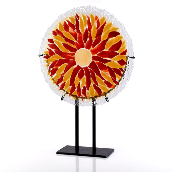 Fused Glass Art Sculpture | Round Sunburst in Red and Amber Glass