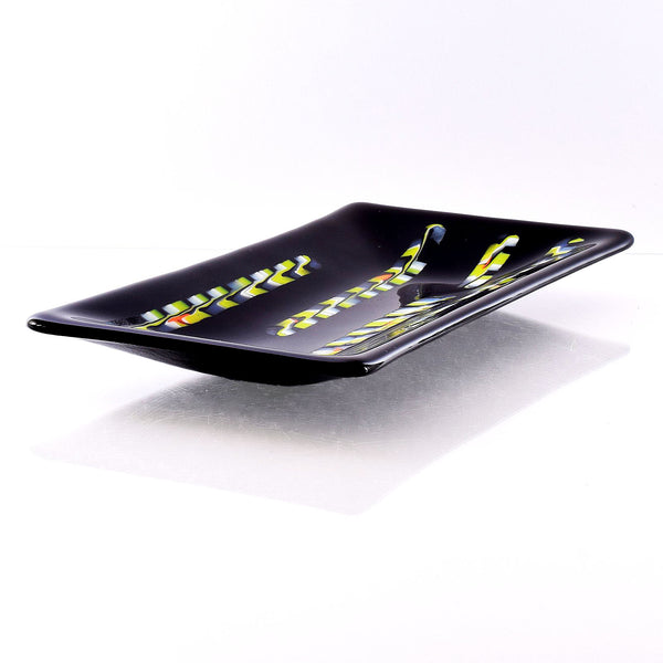 Black Glass Channel Plate Candy Dish | Modern Table Art Decor