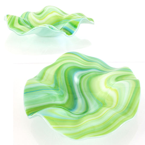 Contemporary Glass Art Swirled Low Profile Floral Sculpture