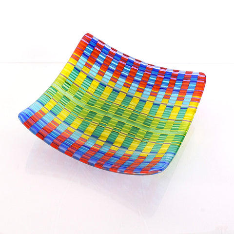 Bargello Fused Glass Art Square Bowl | Woven Tapestry Glass
