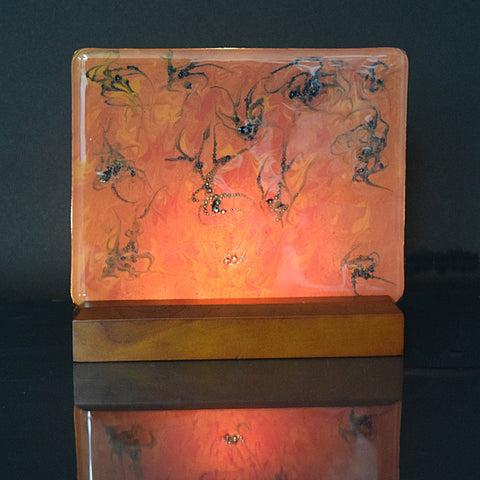 abstract fused glass painted panel with light