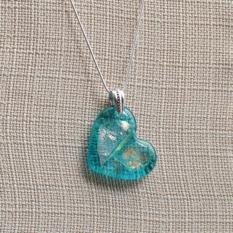 Fused Glass Dichroic Heart Pendant in Aqua | The Glass Rainbow