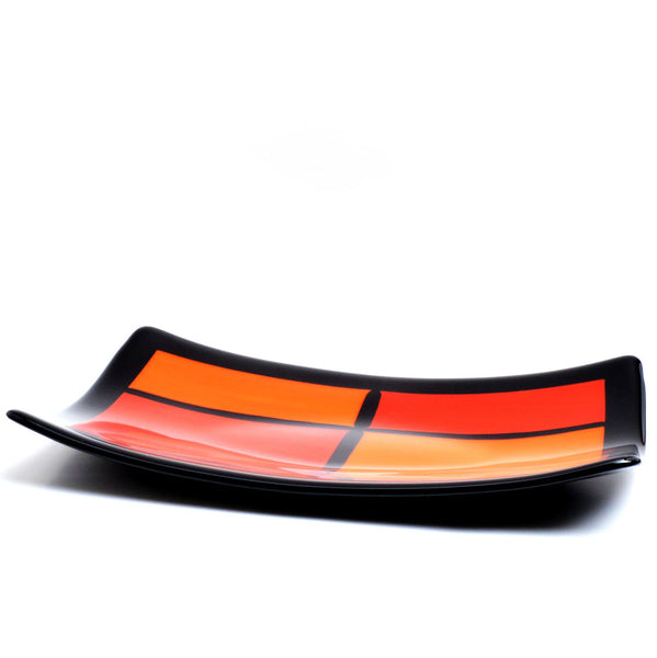 Fused Glass Large Art Deco Sushi Plate