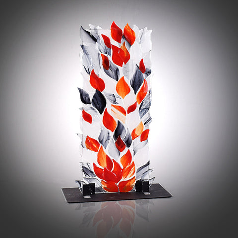 Glass Art Tower of Smoke and Flames Shelf Art with Stand | The Glass Rainbow