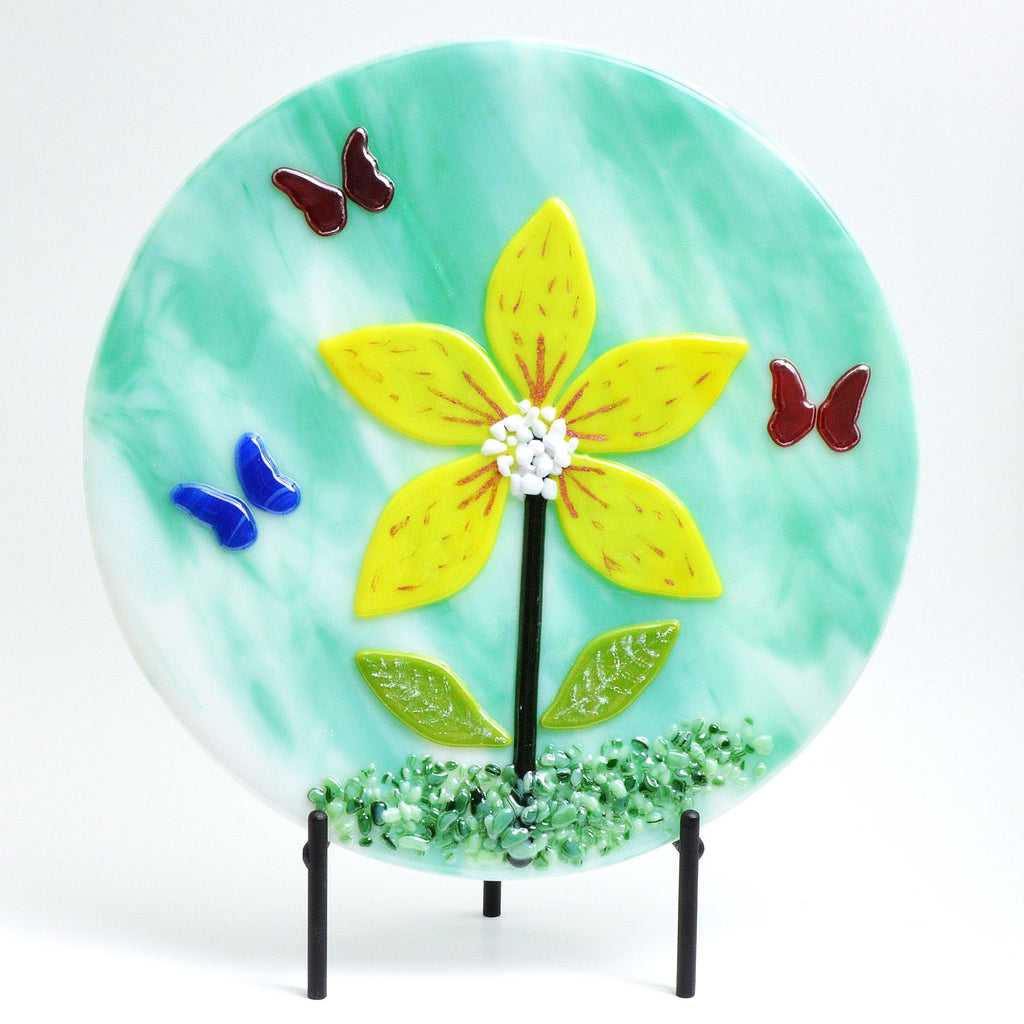 Fused Glass Art Panel Butterfly Flower -The Glass Rainbow