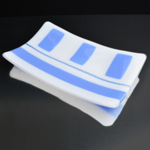 Fused Glass Blue White Sushi Dish -The Glass Rainbow