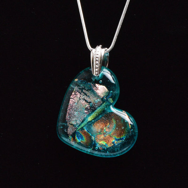 Jewelry Fused Glass Aqua Blue Dichroic Heart Necklace