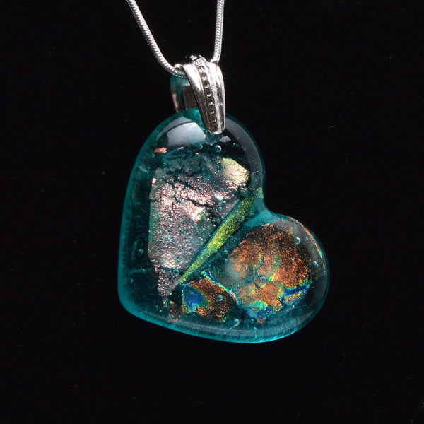 Fused Glass Aqua Dichroic Heart Pendent -The Glass Rainbow