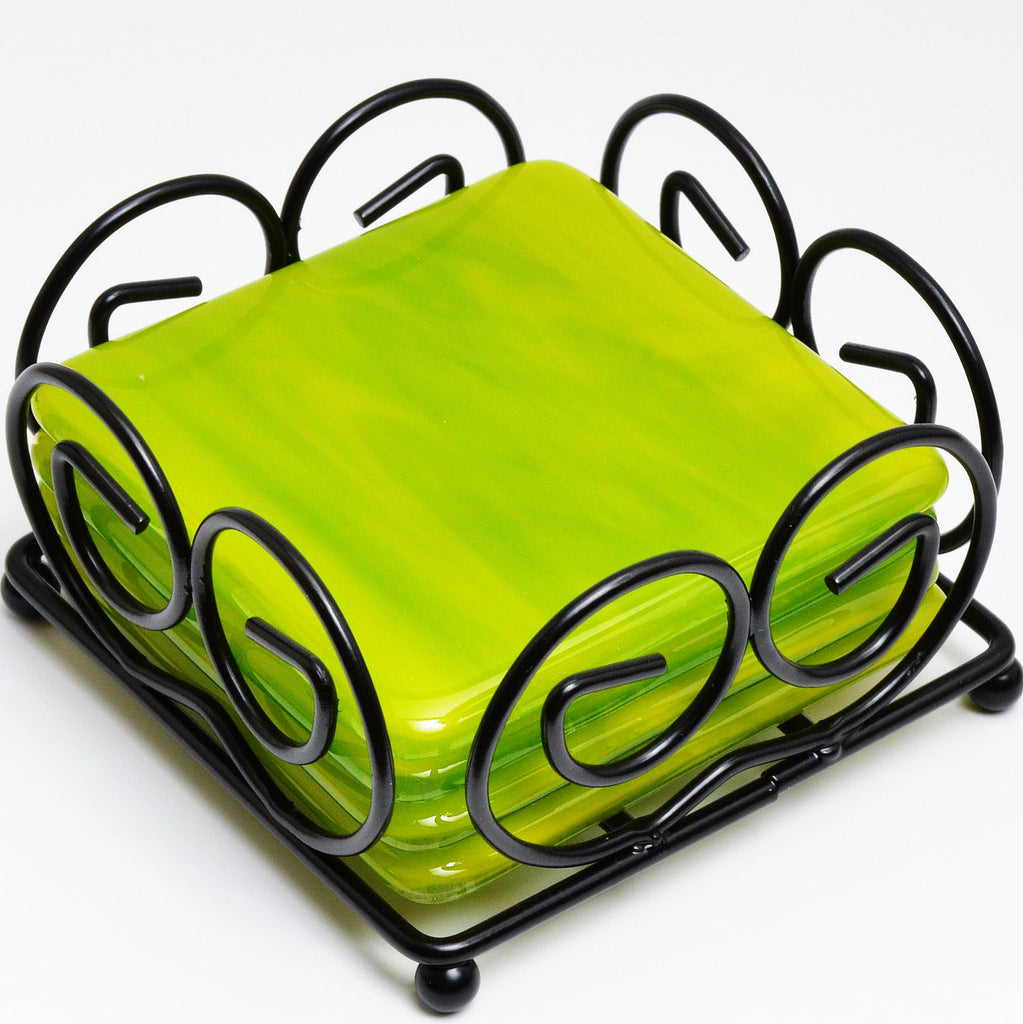 Fused Glass Coaster Set in Green | The Glass Rainbow