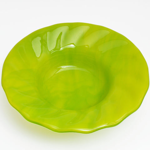 Fused Glass Green Ripple Bowl | The Glass Rainbow
