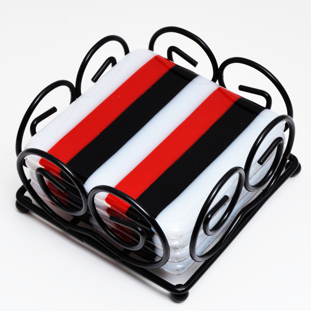 Fused Glass Striped Coaster Set | The Glass Rainbow