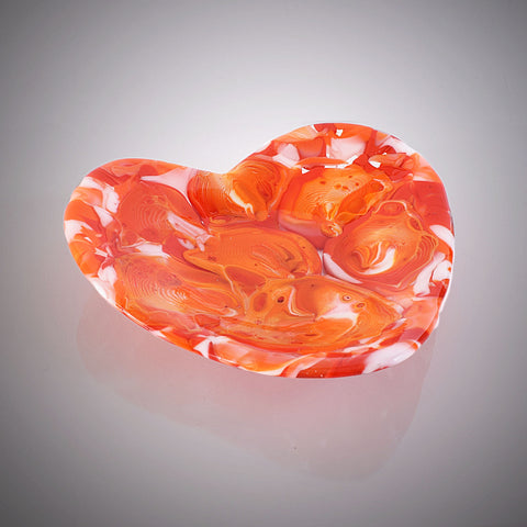 Abstract Fused Glass Art Heart Candy Dish in Red Orange and White Melted Glass