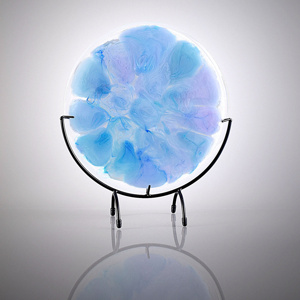 Contemporary Glass Art Melting Evening Sky Round Panel with Stand Handcrafted by Brenda Buschle