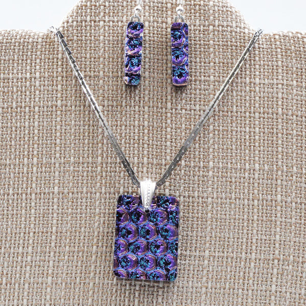 Jewelry Purple Dichroic Fused Glass Pendant & Earring Set | The Glass Rainbow