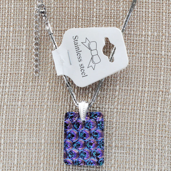Jewelry Purple Dichroic Fused Glass Pendant & Earring Set