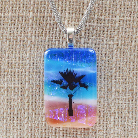 Scenic Layered Palm Tree Fused Glass Pendant w/Chain