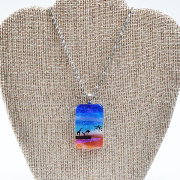 Scenic Layered Palm Tree Fused Glass Pendant