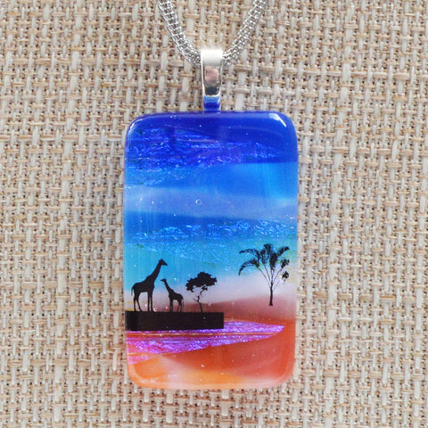 Jewelry Scenic Layer Fused Glass Giraffe Pendant