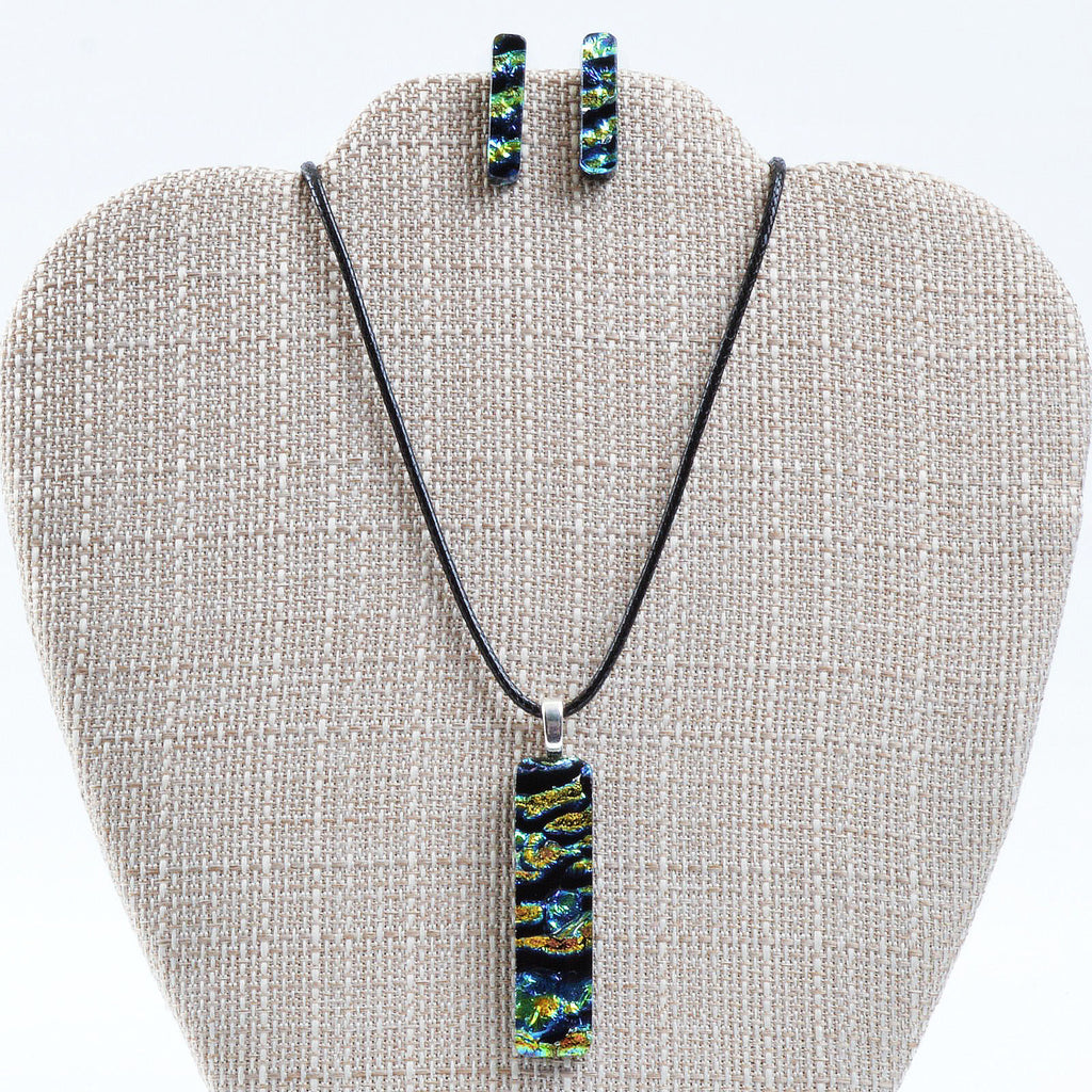 Jewelry Dichroic Fused Glass Pendant & Post Earring Set | The Glass Rainbow