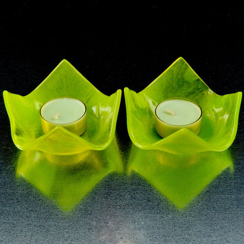 Fused Glass Spring Green Streaky Tea Light Candle Holder Set | The Glass Rainbow