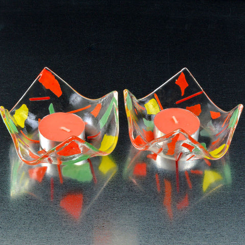 Fused Glass Confetti Tea Light Candle Holder Set