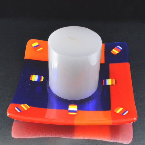 Fused Glass Color Block Candle Holder w/Pillar Candle