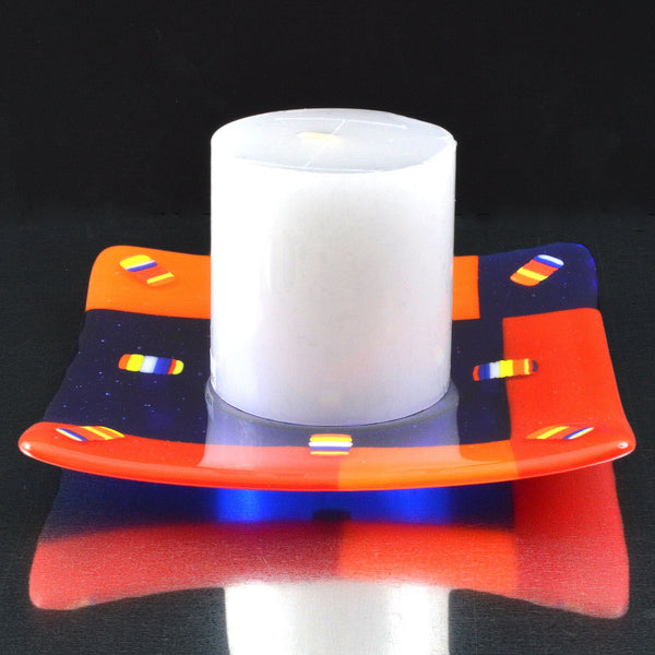Fused Glass Square Color Block Candle Holder