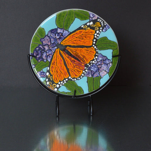 Fused Glass Art Monarch Butterfly Resting on Flowers | Kiln Formed Glass