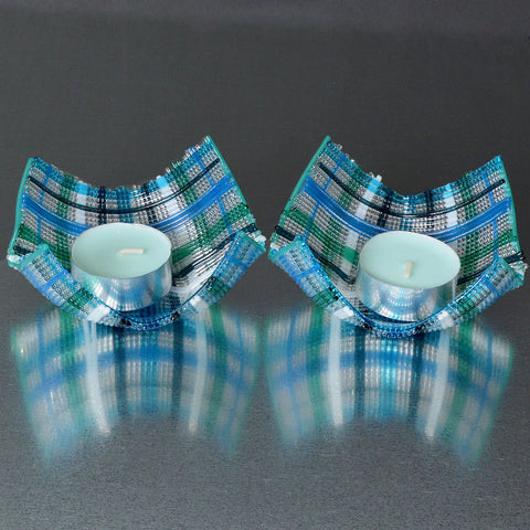 Fused Glass Stringers Tea Light or Votive Candle Holder Set