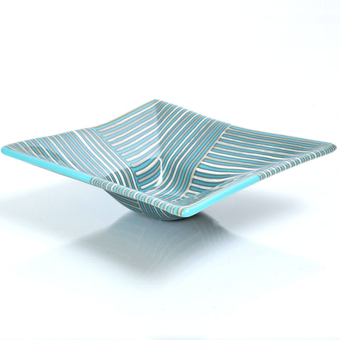 Turquoise and French Vanilla Fused Glass Strip Construction Candy Bowl