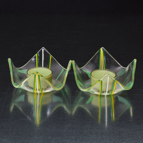 Fused Glass Green Confetti Tea Light Candle Holder Set | The Glass Rainbow