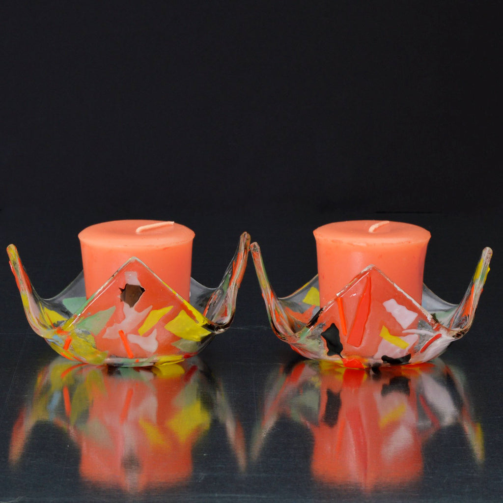 Fused Glass Confetti Votive Candle Holder Set | Warm Glass Art