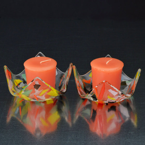 Fused Glass Confetti Votive Candle Holder Set | The Glass Rainbow