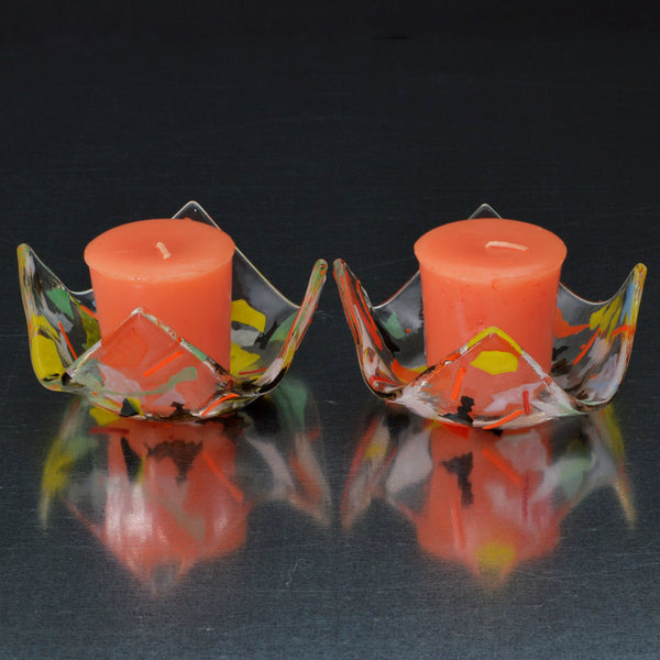 Fused Glass Confetti Votive Candle Holder Set of 2