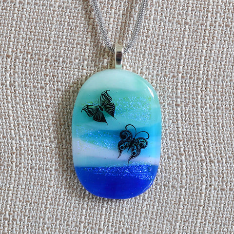 Scenic Layered Fused Glass Butterfly Large Pendant | The Glass Rainbow