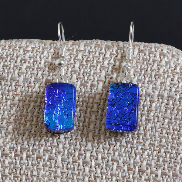 Fused Glass Peacock Blue Dichroic Arrow Earrings | The Glass Rainbow