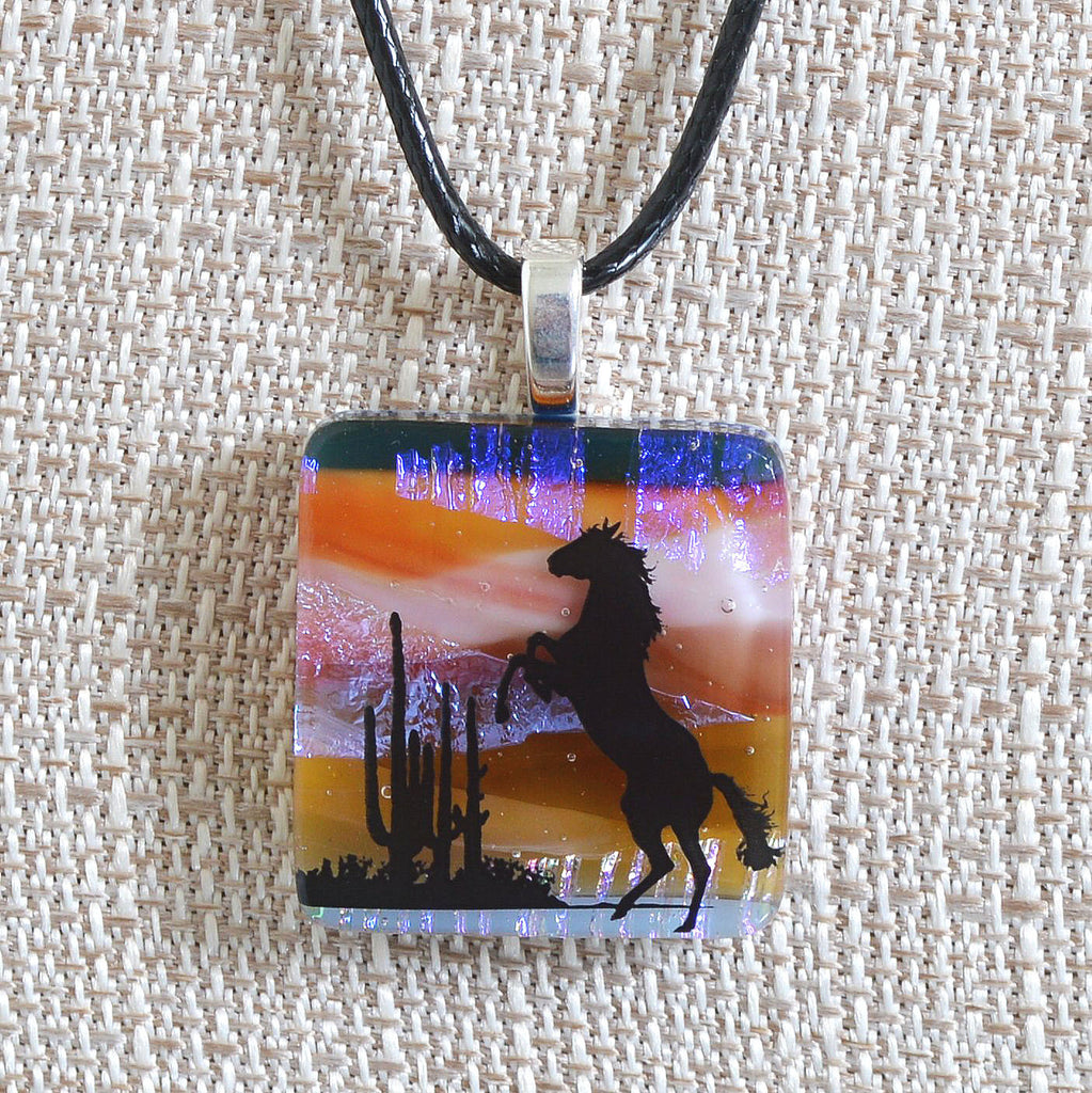 Scenic Layered Fused Glass Southwest Horse Pendant | The Glass Rainbow
