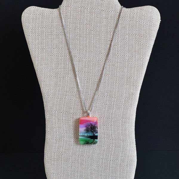 "Scenic Layer Fused Glass Tree on Lake Pendant w/18"" Stainless Steel Mesh Chain"