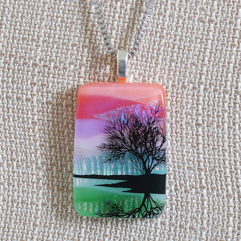 Scenic Layer Fused Glass Tree on Lake Pendant | The Glass Rainbow