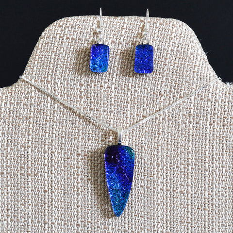 Fused Glass Peacock Blue Dichroic Arrow Pendant & Earring Set | The Glass Rainbow