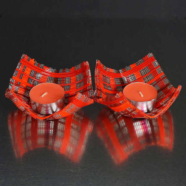 Fused Glass Stringers Deep Red Tea Light Candle Holder Set