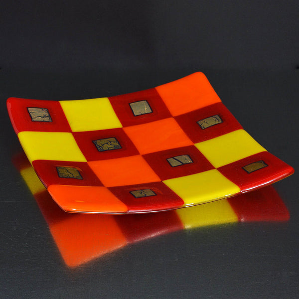 Fused Glass Silver Infused Square Pattern Plate