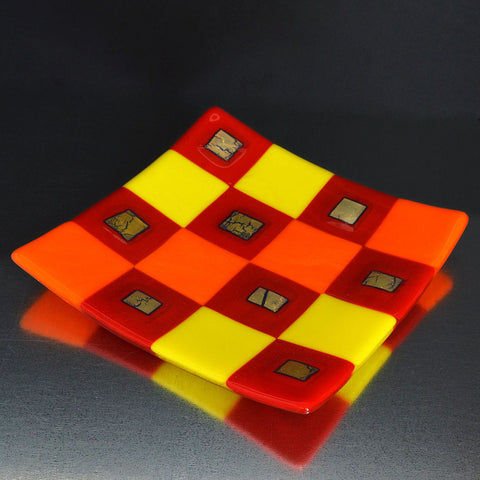 Fused Glass Silver Infused Square Pattern Plate | The Glass Rainbow