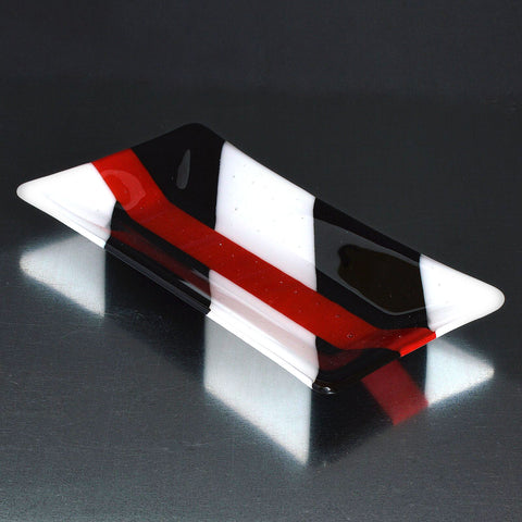 Fused Glass Black, White & Red Diagonal Cut Rectangular Dish